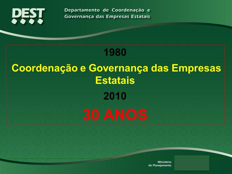1980 Coordenação e Governança das Empresas Estatais 2010 30 ANOS