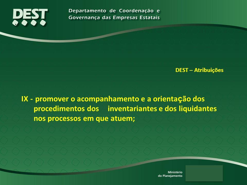 . DEST – Atribuições IX - promover o acompanhamento e a orienta ç ão dos procedimentos dos inventariantes e dos liquidantes nos processos em que atuem