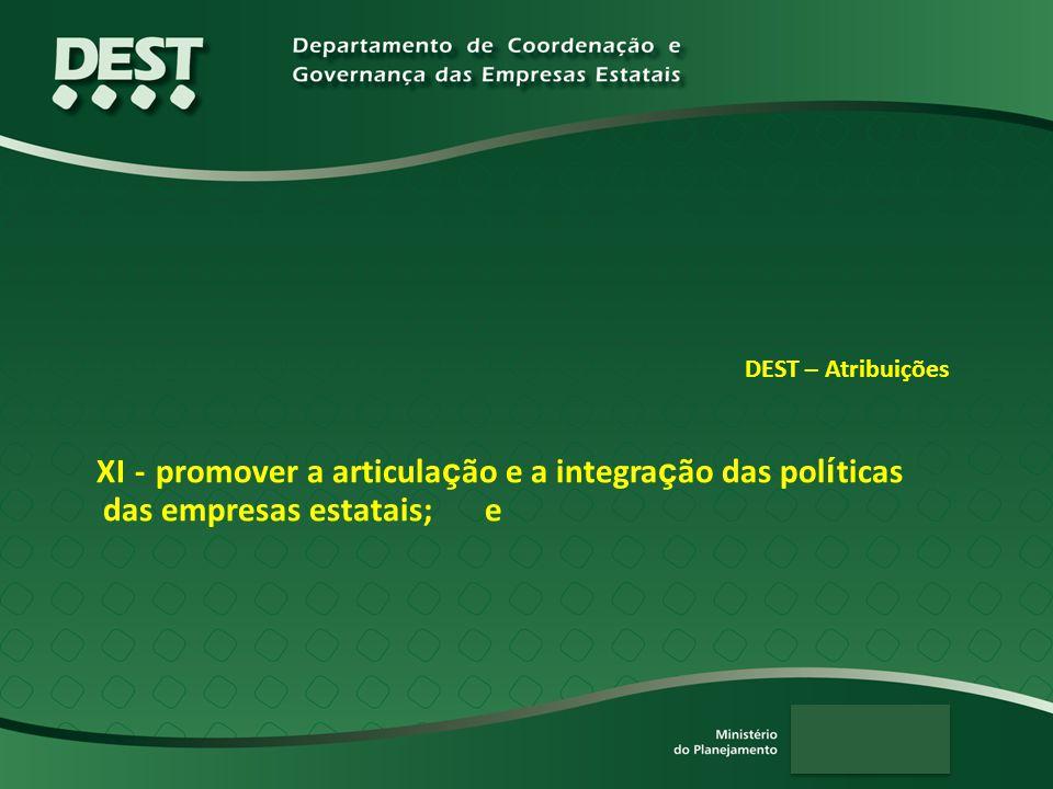 DEST – Atribuições XI - promover a articula ç ão e a integra ç ão das pol í ticas das empresas estatais; e