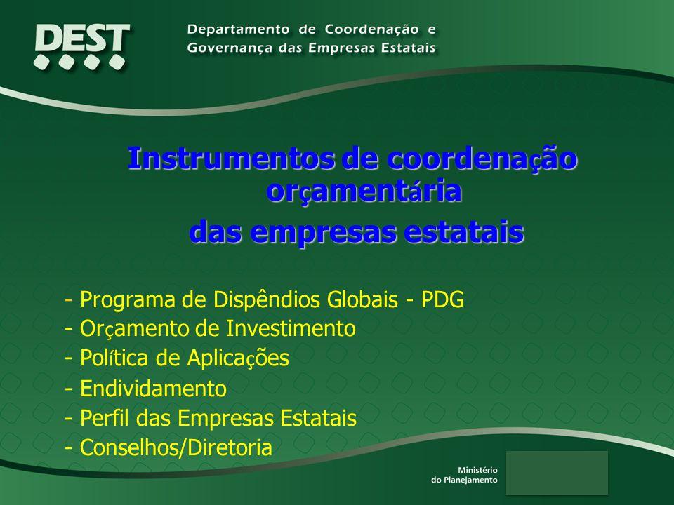 Instrumentos de coordena ç ão or ç ament á ria das empresas estatais das empresas estatais - Programa de Dispêndios Globais - PDG - Or ç amento de Investimento - Pol í tica de Aplica ç ões - Endividamento - Perfil das Empresas Estatais - Conselhos/Diretoria