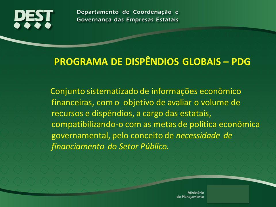 PROGRAMA DE DISPÊNDIOS GLOBAIS – PDG Conjunto sistematizado de informações econômico financeiras, com o objetivo de avaliar o volume de recursos e dis