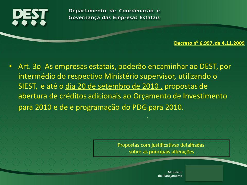 Art. 3o As empresas estatais, poderão encaminhar ao DEST, por intermédio do respectivo Ministério supervisor, utilizando o SIEST, e até o dia 20 de se