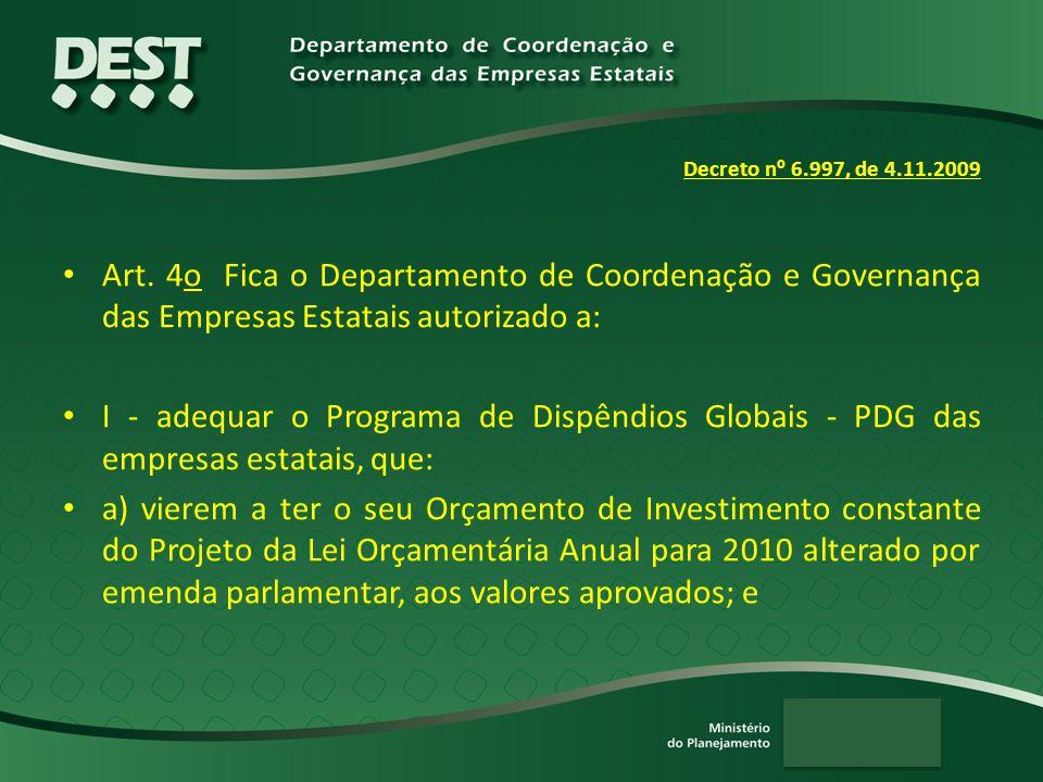 Decreto n º 6.997, de 4.11.2009 Art. 4o Fica o Departamento de Coordenação e Governança das Empresas Estatais autorizado a: I - adequar o Programa de