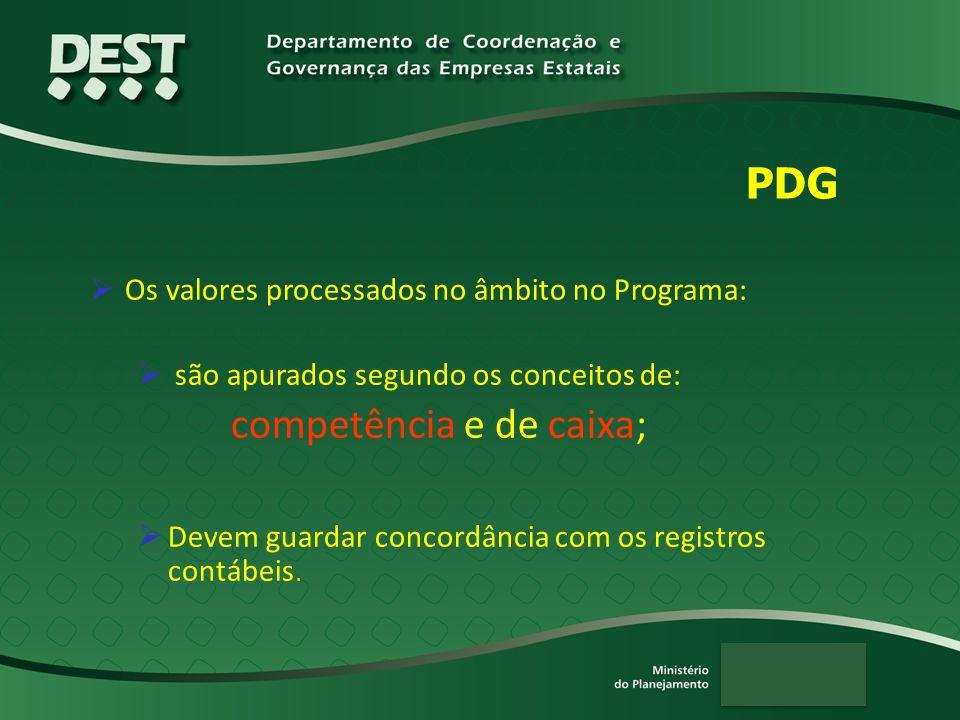 PDG  Os valores processados no âmbito no Programa:  são apurados segundo os conceitos de: competência e de caixa;  Devem guardar concordância com o