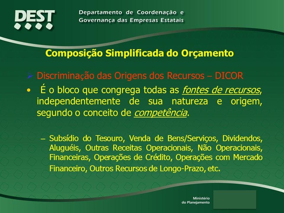 Composição Simplificada do Orçamento  Discrimina ç ão das Origens dos Recursos – DICOR É o bloco que congrega todas as fontes de recursos, independentemente de sua natureza e origem, segundo o conceito de competência.