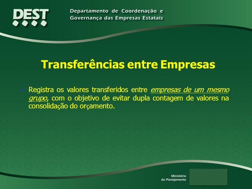 Transferências entre Empresas  Registra os valores transferidos entre empresas de um mesmo grupo, com o objetivo de evitar dupla contagem de valores