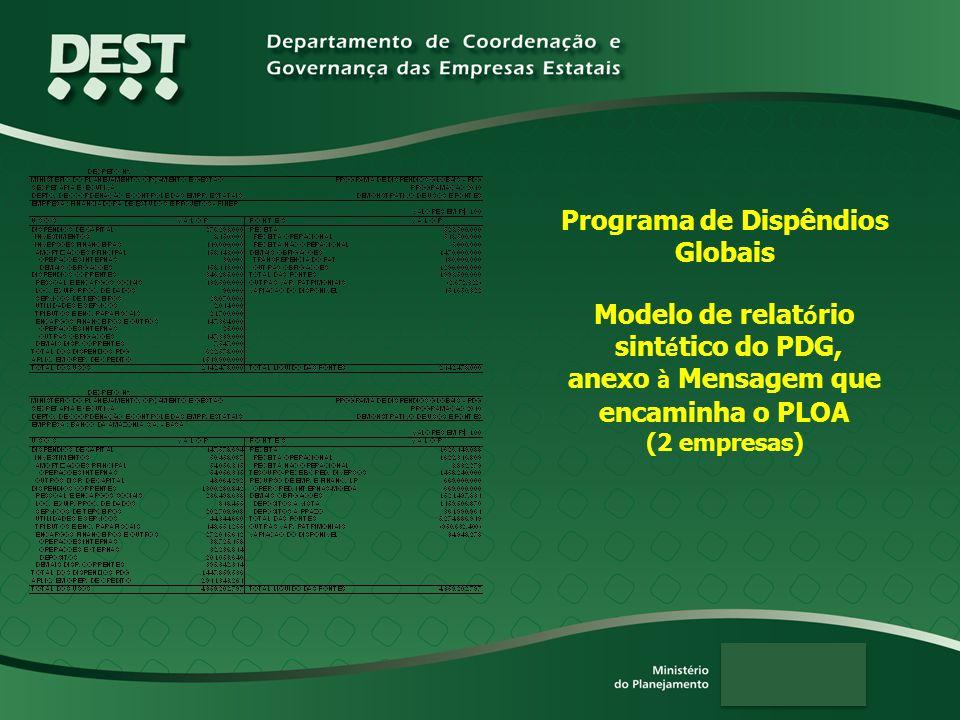 Programa de Dispêndios Globais Modelo de relat ó rio sint é tico do PDG, anexo à Mensagem que encaminha o PLOA (2 empresas)