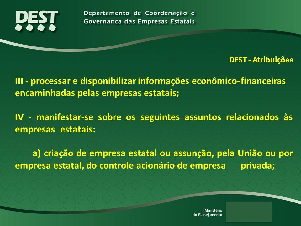 DEST - Atribuições III - processar e disponibilizar informações econômico-financeiras encaminhadas pelas empresas estatais; IV - manifestar-se sobre o