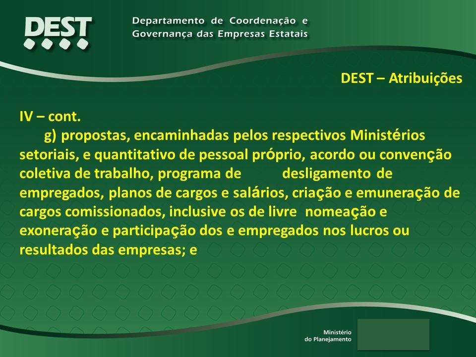 DEST – Atribuições IV – cont. g) propostas, encaminhadas pelos respectivos Minist é rios setoriais, e quantitativo de pessoal pr ó prio, acordo ou con
