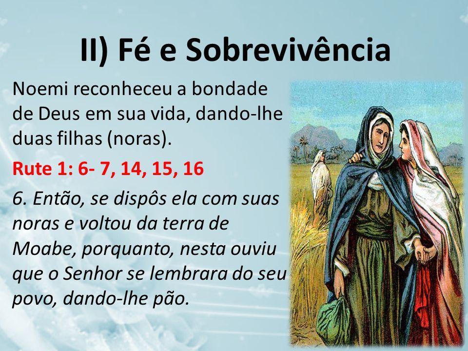 II) Fé e Sobrevivência Noemi reconheceu a bondade de Deus em sua vida, dando-lhe duas filhas (noras). Rute 1: 6- 7, 14, 15, 16 6. Então, se dispôs ela