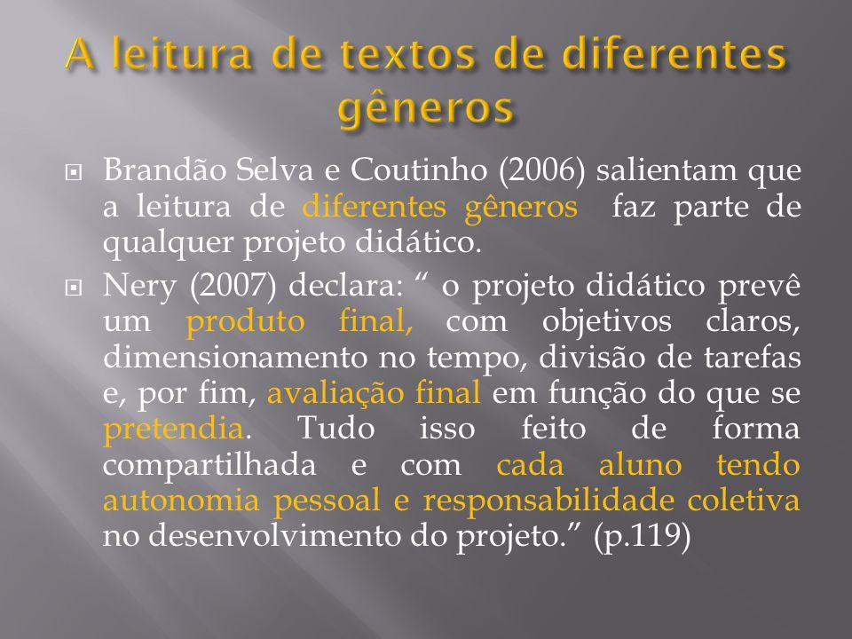 """ Brandão Selva e Coutinho (2006) salientam que a leitura de diferentes gêneros faz parte de qualquer projeto didático.  Nery (2007) declara: """" o pro"""
