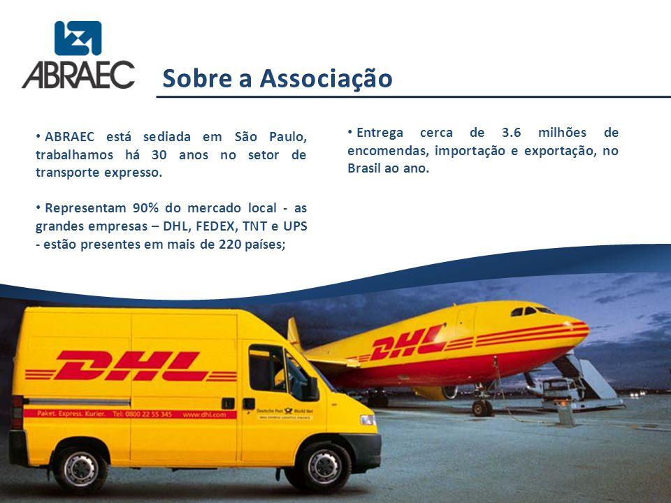 Entrega cerca de 3.6 milhões de encomendas, importação e exportação, no Brasil ao ano. ABRAEC está sediada em São Paulo, trabalhamos há 30 anos no set