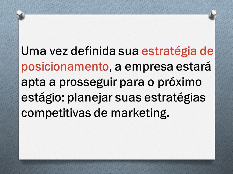 Uma vez definida sua estratégia de posicionamento, a empresa estará apta a prosseguir para o próximo estágio: planejar suas estratégias competitivas d
