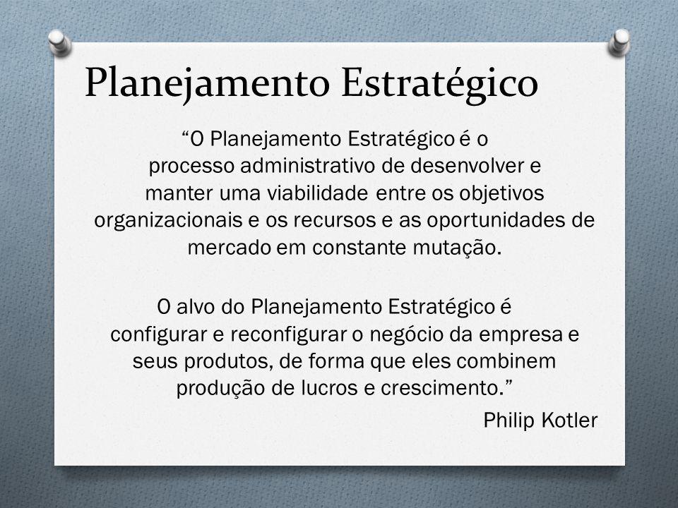 """Planejamento Estratégico """"O Planejamento Estratégico é o processo administrativo de desenvolver e manter uma viabilidade entre os objetivos organizaci"""