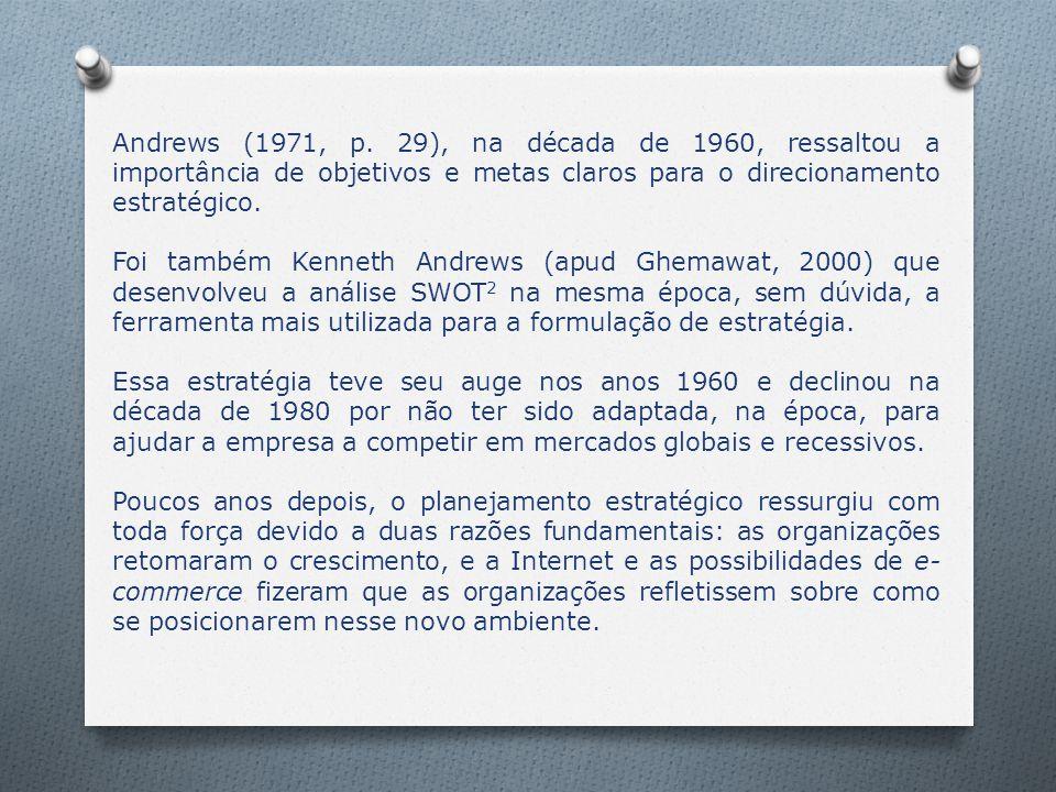 Andrews (1971, p. 29), na década de 1960, ressaltou a importância de objetivos e metas claros para o direcionamento estratégico. Foi também Kenneth An