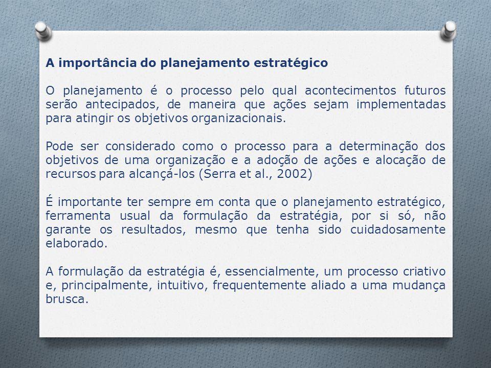 A importância do planejamento estratégico O planejamento é o processo pelo qual acontecimentos futuros serão antecipados, de maneira que ações sejam i