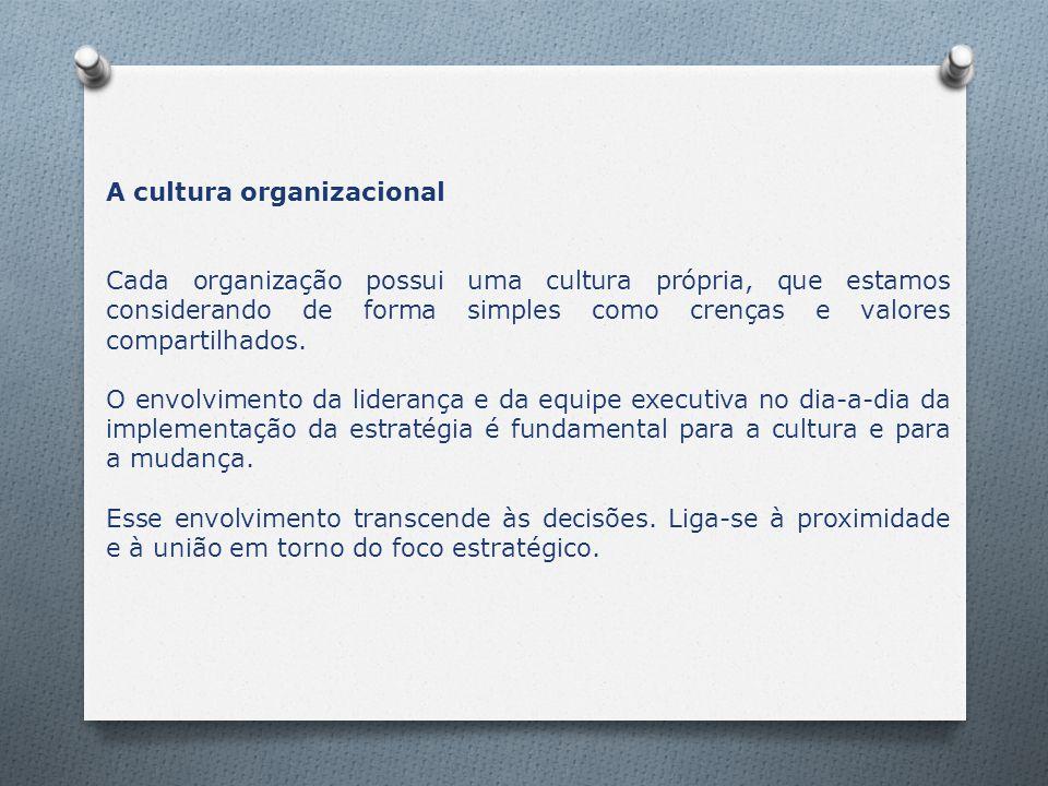 A cultura organizacional Cada organização possui uma cultura própria, que estamos considerando de forma simples como crenças e valores compartilhados.