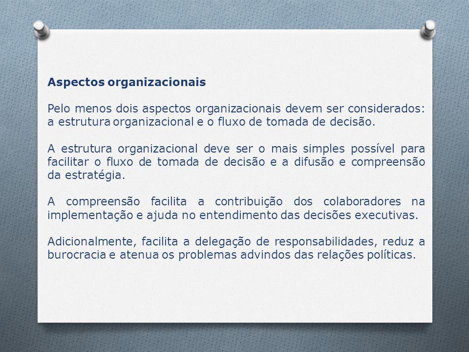Aspectos organizacionais Pelo menos dois aspectos organizacionais devem ser considerados: a estrutura organizacional e o fluxo de tomada de decisão. A