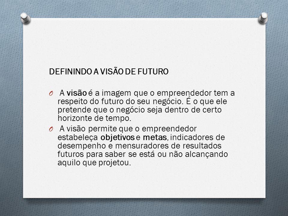 DEFININDO A VISÃO DE FUTURO O A visão é a imagem que o empreendedor tem a respeito do futuro do seu negócio. É o que ele pretende que o negócio seja d