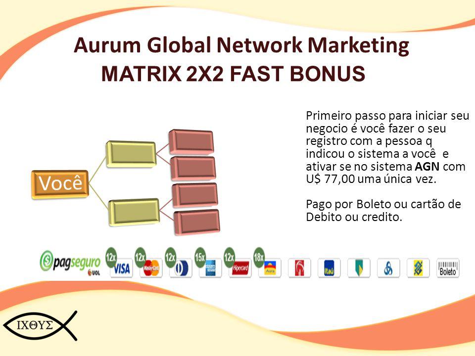 Aurum Global Network Marketing MATRIX 2X2 FAST BONUS Primeiro passo para iniciar seu negocio é você fazer o seu registro com a pessoa q indicou o sist
