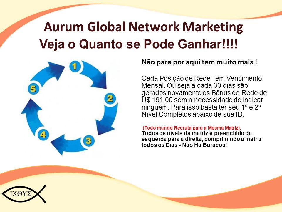 Aurum Global Network Marketing Veja o Quanto se Pode Ganhar!!!! Não para por aqui tem muito mais ! Cada Posição de Rede Tem Vencimento Mensal. Ou seja
