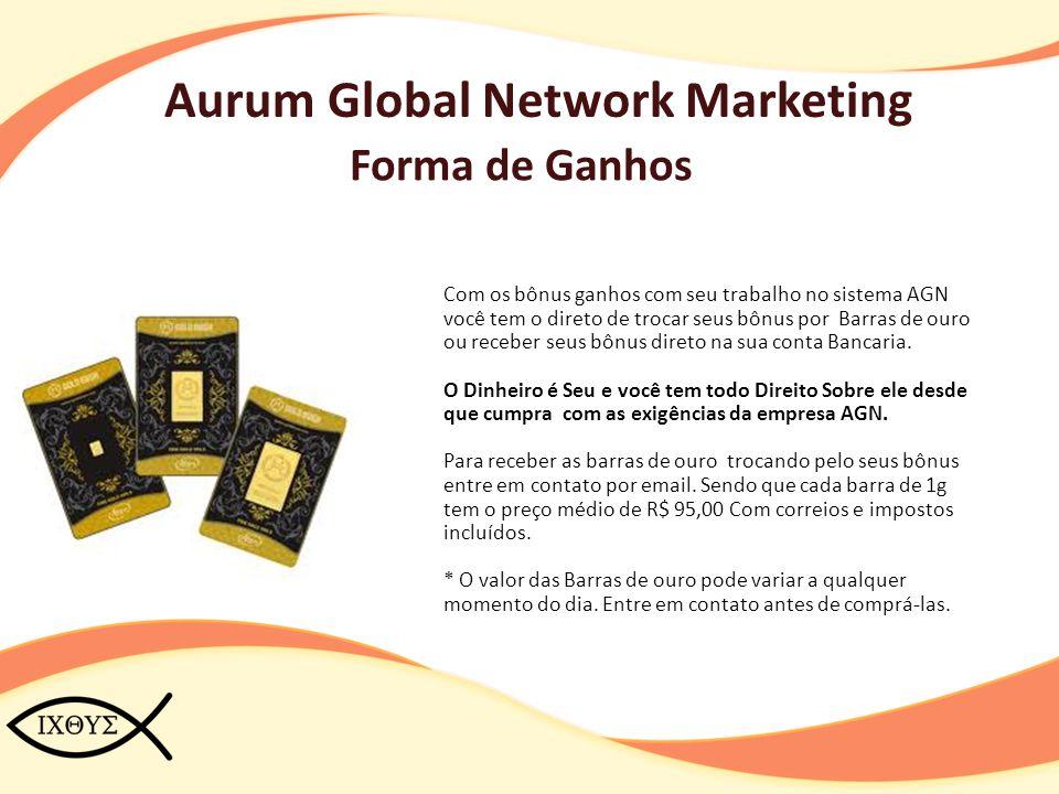 Aurum Global Network Marketing Forma de Ganhos Com os bônus ganhos com seu trabalho no sistema AGN você tem o direto de trocar seus bônus por Barras d