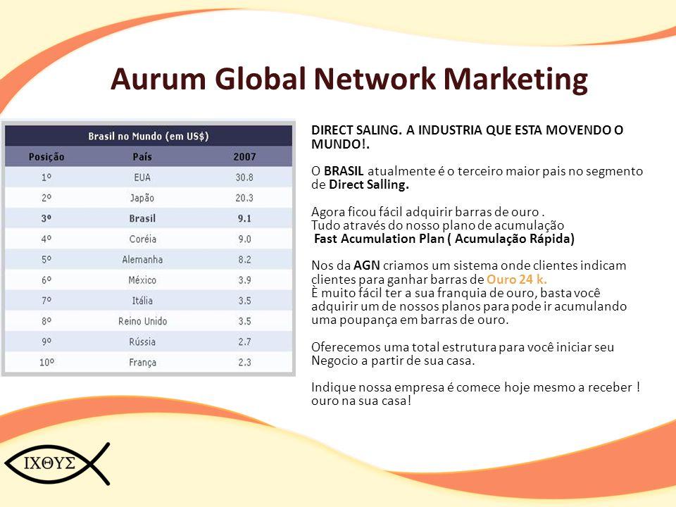 Aurum Global Network Marketing Forma de Ganhos Com os bônus ganhos com seu trabalho no sistema AGN você tem o direto de trocar seus bônus por Barras de ouro ou receber seus bônus direto na sua conta Bancaria.