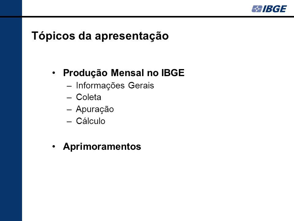 Tópicos da apresentação Produção Mensal no IBGE –Informações Gerais –Coleta –Apuração –Cálculo Aprimoramentos