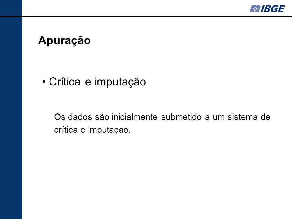 Crítica e imputação Apuração Os dados são inicialmente submetido a um sistema de crítica e imputação.