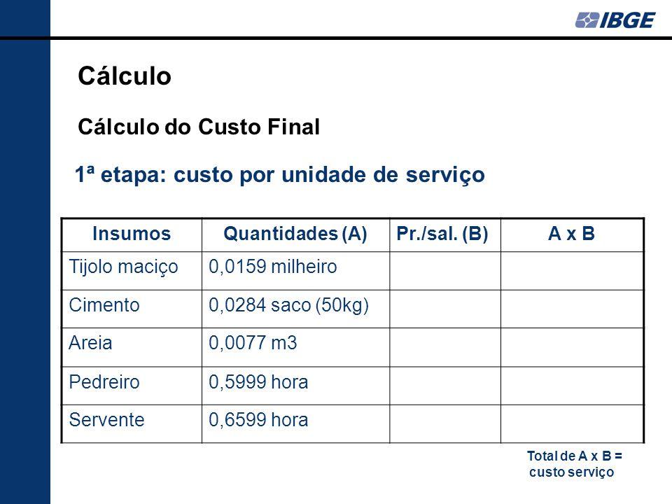 1ª etapa: custo por unidade de serviço InsumosQuantidades (A)Pr./sal.