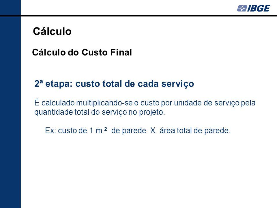 2ª etapa: custo total de cada serviço É calculado multiplicando-se o custo por unidade de serviço pela quantidade total do serviço no projeto.