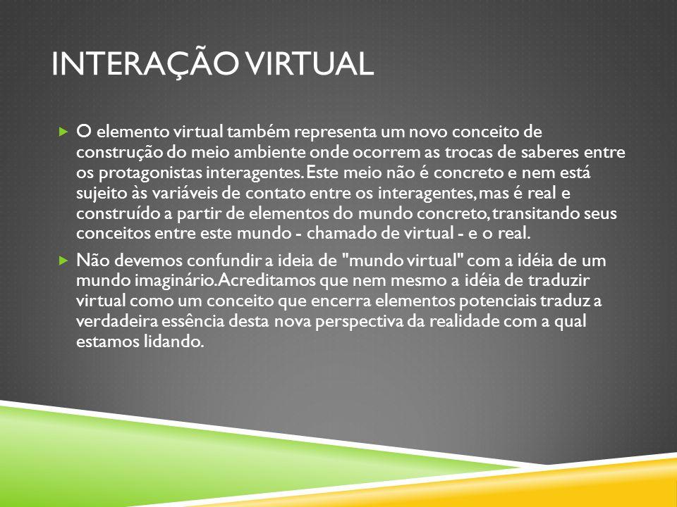 INTERAÇÃO VIRTUAL  O elemento virtual também representa um novo conceito de construção do meio ambiente onde ocorrem as trocas de saberes entre os protagonistas interagentes.