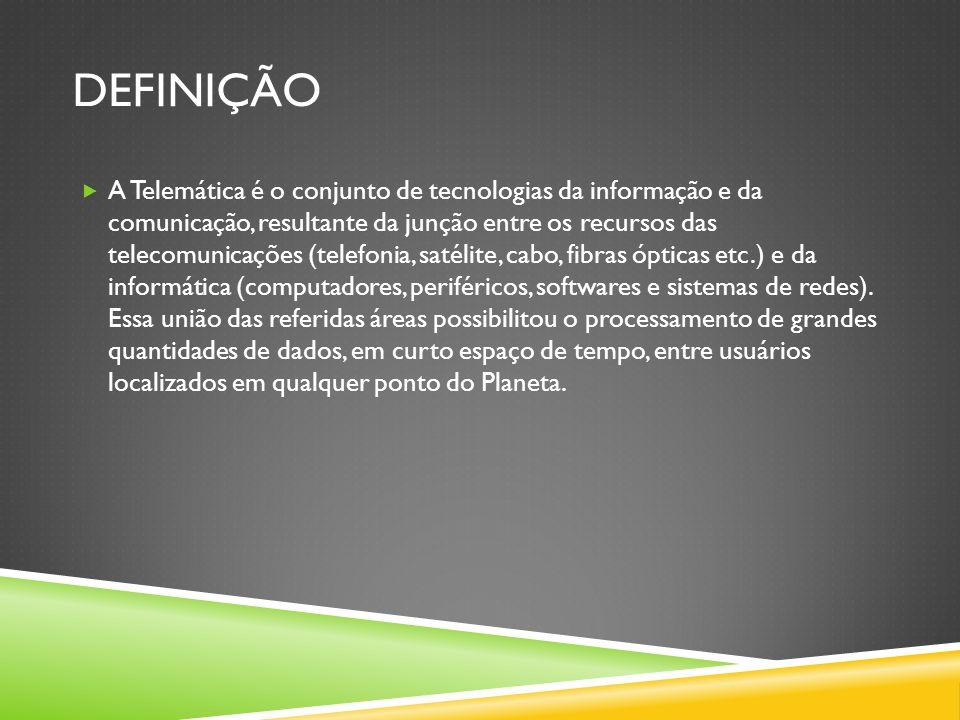 DEFINIÇÃO  A Telemática é o conjunto de tecnologias da informação e da comunicação, resultante da junção entre os recursos das telecomunicações (telefonia, satélite, cabo, fibras ópticas etc.) e da informática (computadores, periféricos, softwares e sistemas de redes).