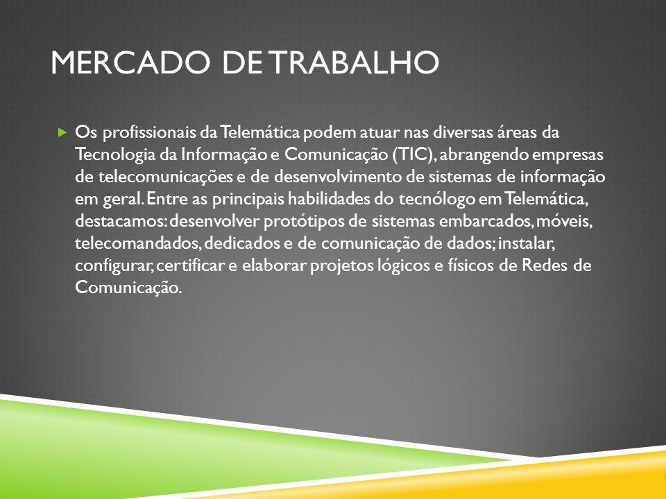 MERCADO DE TRABALHO  Os profissionais da Telemática podem atuar nas diversas áreas da Tecnologia da Informação e Comunicação (TIC), abrangendo empresas de telecomunicações e de desenvolvimento de sistemas de informação em geral.