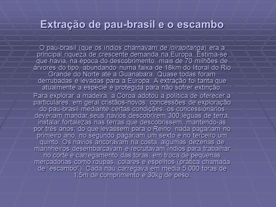 Extração de pau-brasil e o escambo O pau-brasil (que os índios chamavam de ibirapitanga) era a principal riqueza de crescente demanda na Europa.