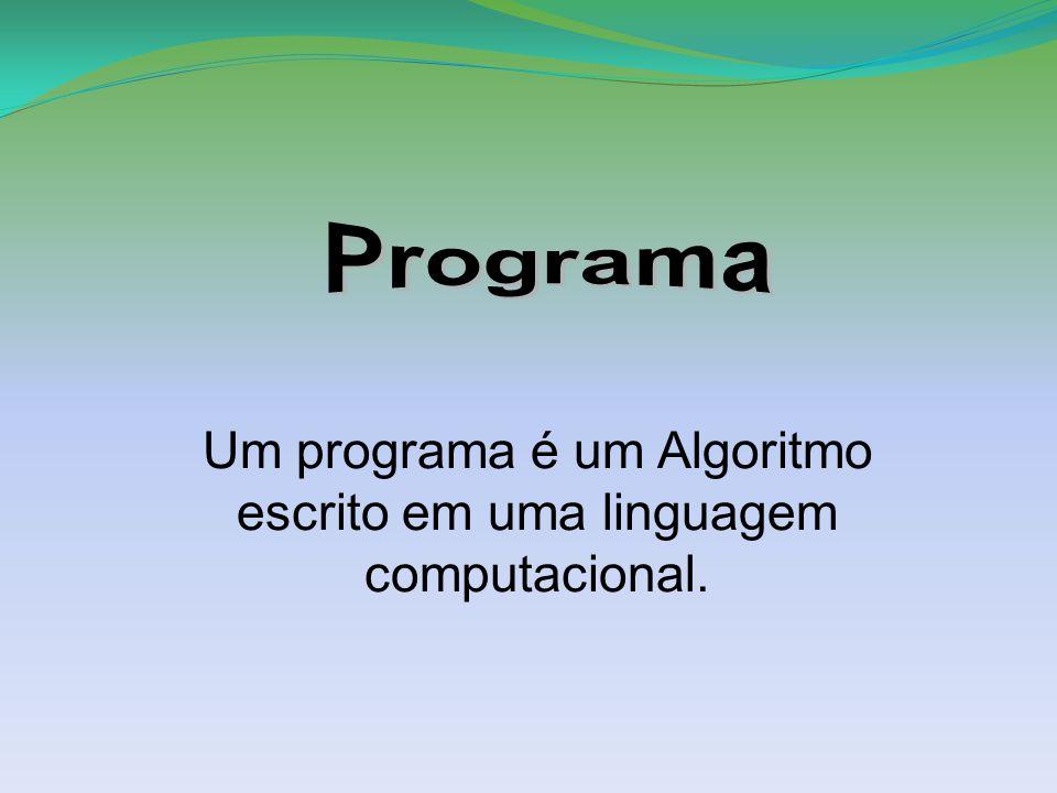 Um programa é um Algoritmo escrito em uma linguagem computacional.