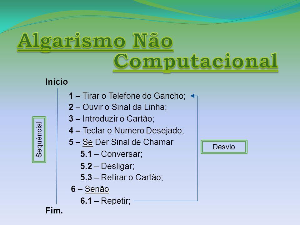 Início 1 – Tirar o Telefone do Gancho; 2 – Ouvir o Sinal da Linha; 3 – Introduzir o Cartão; 4 – Teclar o Numero Desejado; Se 5 – Se Der Sinal de Chamar 5.1 – Conversar; 5.2 – Desligar; 5.3 – Retirar o Cartão; Senão 6 – Senão 6.1 – Repetir; Fim.