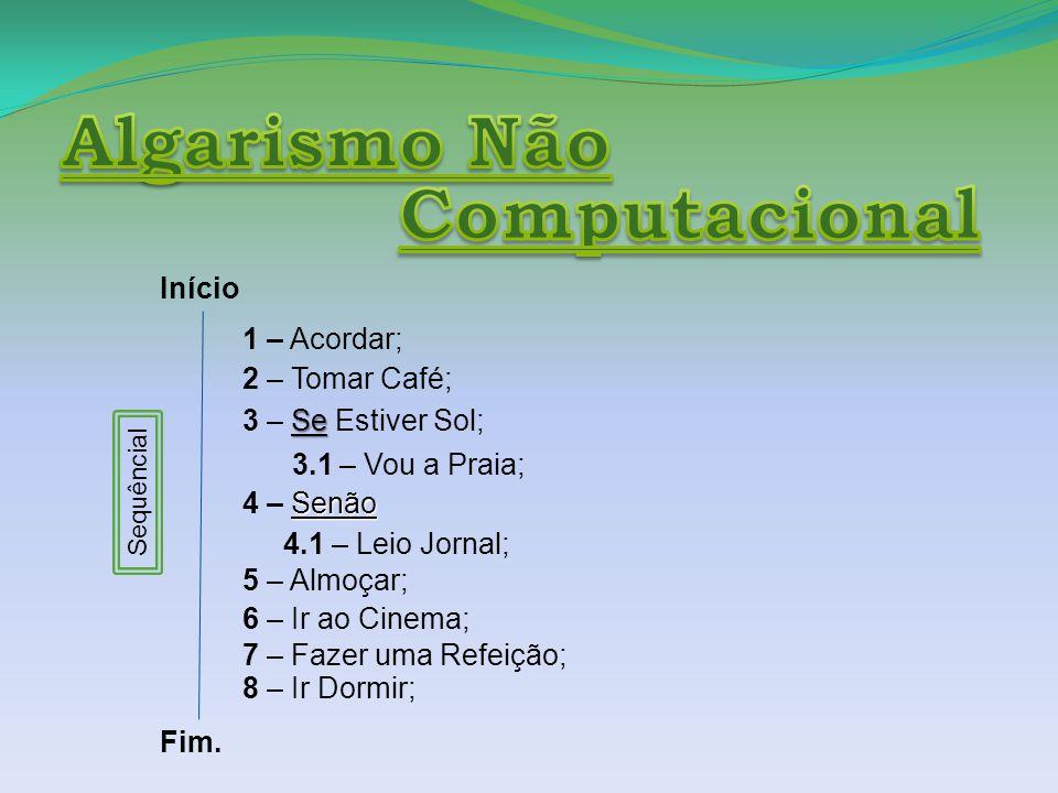 Início 1 – Acordar; 2 – Tomar Café; Se 3 – Se Estiver Sol; 3.1 – Vou a Praia; Senão 4 – Senão 4.1 – Leio Jornal; 5 – Almoçar; Fim.