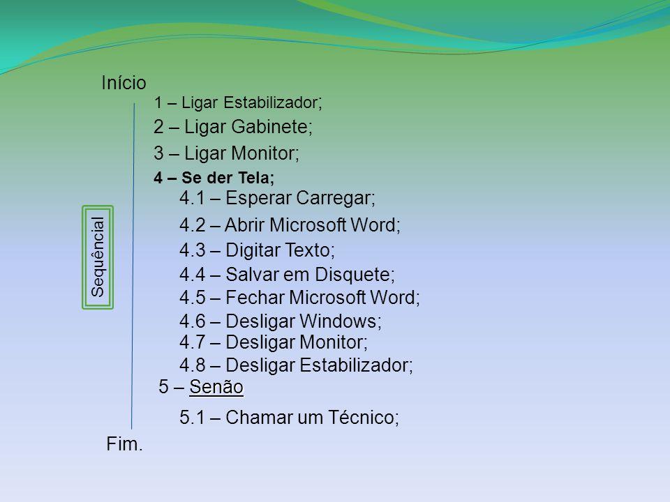 Início Sequêncial 1 – Ligar Estabilizador ; 2 – Ligar Gabinete; 3 – Ligar Monitor; 4 – Se der Tela; 4.1 – Esperar Carregar; 4.2 – Abrir Microsoft Word; 4.3 – Digitar Texto; Senão 5 – Senão 5.1 – Chamar um Técnico; Fim.