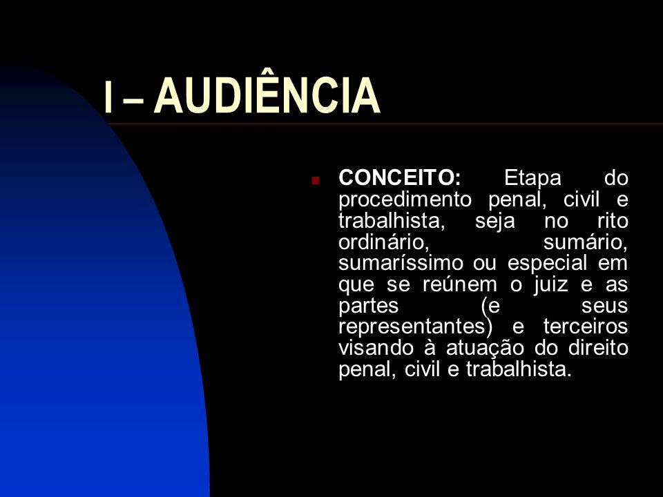 II – PRINCÍPIOS: Oralidade; verdade; contraditório; economia; publicidade...
