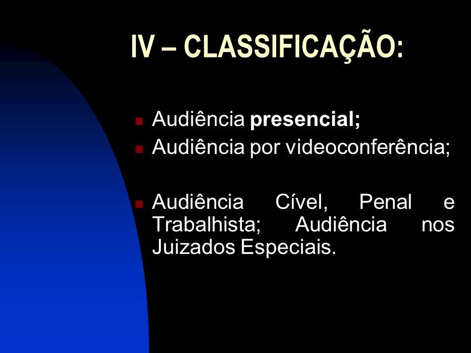 IV – CLASSIFICAÇÃO: Audiência presencial; Audiência por videoconferência; Audiência Cível, Penal e Trabalhista; Audiência nos Juizados Especiais.