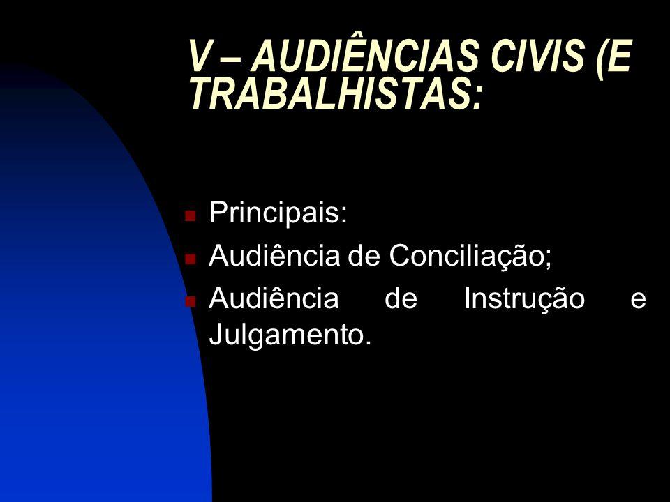 V – AUDIÊNCIAS CIVIS (E TRABALHISTAS: Principais: Audiência de Conciliação; Audiência de Instrução e Julgamento.