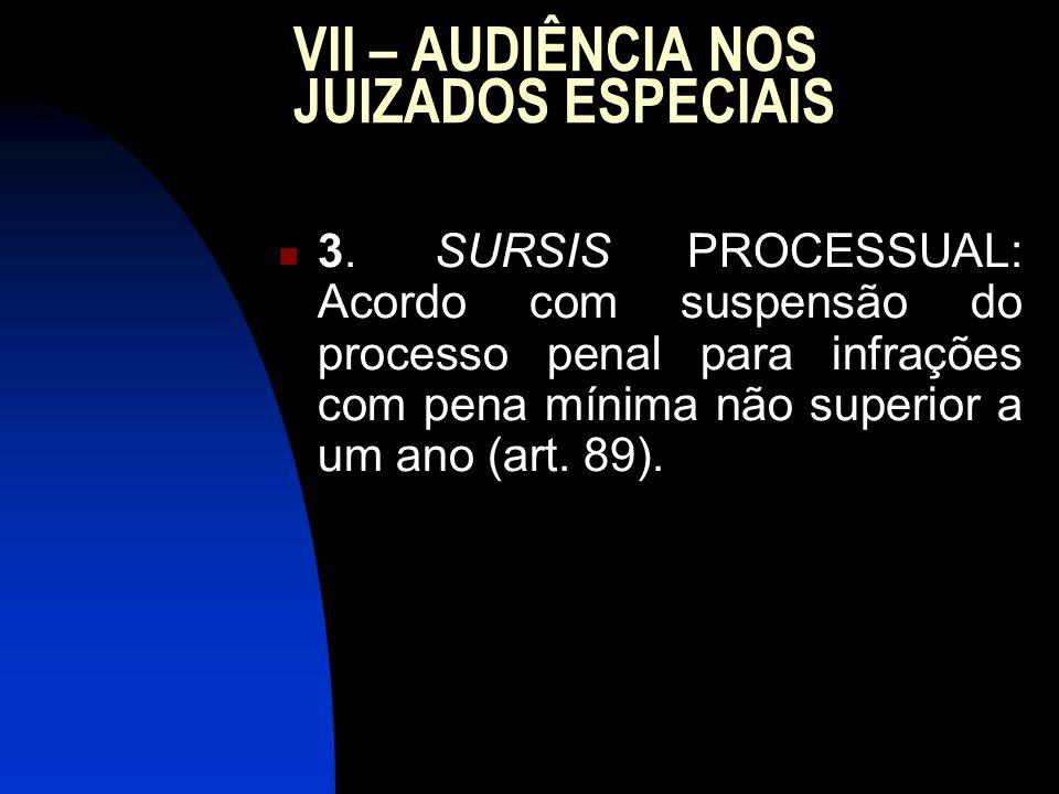 VII – AUDIÊNCIA NOS JUIZADOS ESPECIAIS 3.