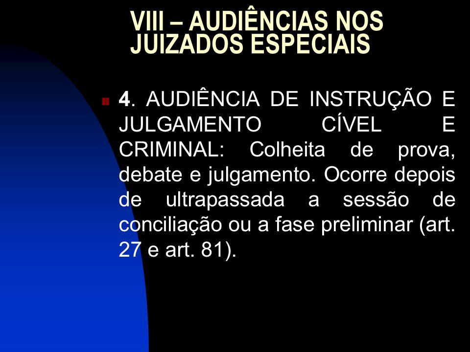 VIII – AUDIÊNCIAS NOS JUIZADOS ESPECIAIS 4.