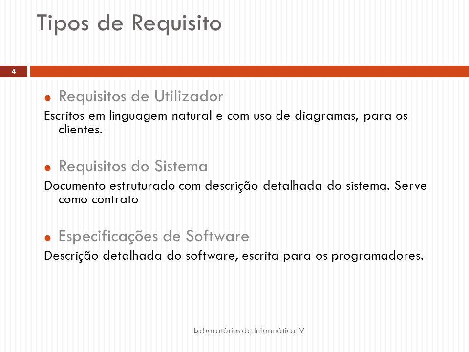Tipos de Requisito Laboratórios de Informática IV 4  Requisitos de Utilizador Escritos em linguagem natural e com uso de diagramas, para os clientes.