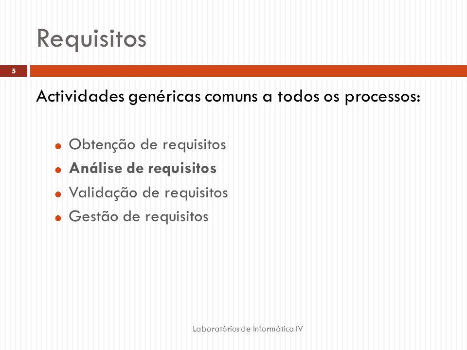 Requisitos Laboratórios de Informática IV 5 Actividades genéricas comuns a todos os processos:  Obtenção de requisitos  Análise de requisitos  Validação de requisitos  Gestão de requisitos