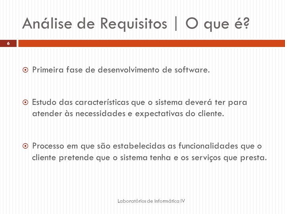 Análise de Requisitos | O que é?  Primeira fase de desenvolvimento de software.  Estudo das características que o sistema deverá ter para atender às