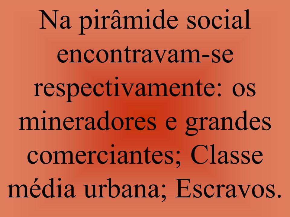 Na pirâmide social encontravam-se respectivamente: os mineradores e grandes comerciantes; Classe média urbana; Escravos.