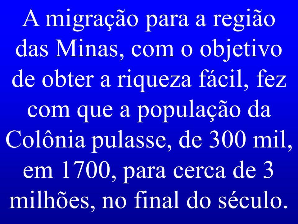 A migração para a região das Minas, com o objetivo de obter a riqueza fácil, fez com que a população da Colônia pulasse, de 300 mil, em 1700, para cer