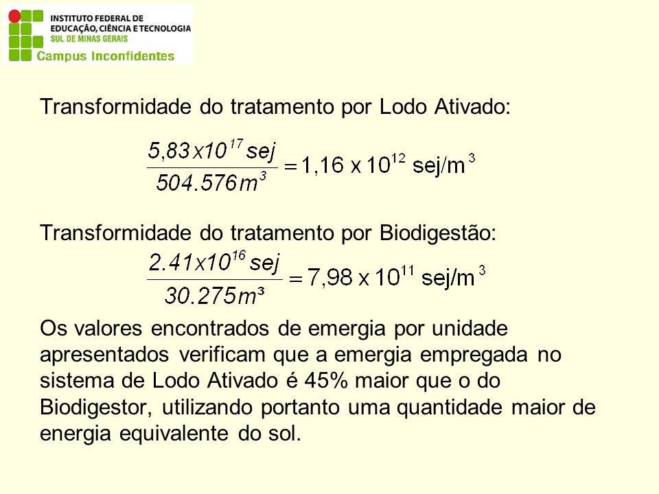 Transformidade do tratamento por Lodo Ativado: Transformidade do tratamento por Biodigestão: Os valores encontrados de emergia por unidade apresentados verificam que a emergia empregada no sistema de Lodo Ativado é 45% maior que o do Biodigestor, utilizando portanto uma quantidade maior de energia equivalente do sol.
